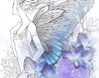 Digital Stamp Instant Download - Orchid Fairy w/ Detailed Butterfy Wings - Shades of Blue - digistamp - Fantasy Line Art for Cards & Crafts