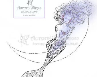 Digital Stamp - Mermaid on Crescent Moon - Instant Download - digistamp - Fantasy Line Art for Cards & Crafts by Mitzi Sato-Wiuff
