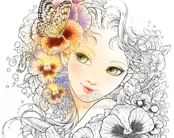 Digital Stamp - Pansy - Girl with Pansy, Lobelia, and Butterfly - Instant Download - Floral Fantasy Line Art for Cards & Crafts