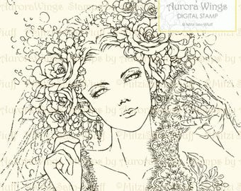 Digital Stamp - Instant Download - Bridal Veil - Bride in Roses and Lace - Wedding Line Art for Cards & Crafts by AuroraWings