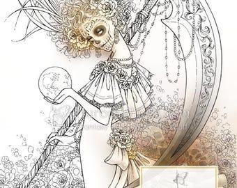 Digital Stamp Instant Download - Santa Muerte - Day of the Dead Catrina Skull - Dark Fantasy Line Art for Cards & Crafts by Mitzi Sato-Wiuff