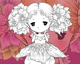 PNG Digital Stamp - Christmas Rose Sprite - Holiday Flower Fairy - Christmas Coloring Page - Fantasy Art of Mitzi Sato-Wiuff - Aurora Wings