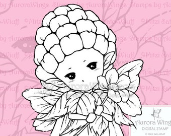 PNG Digital Stamp - Whimsical Raspberry Sprite - Instant Download - digistamp - Fantasy Line Art for Cards & Crafts by Mitzi Sato-Wiuff