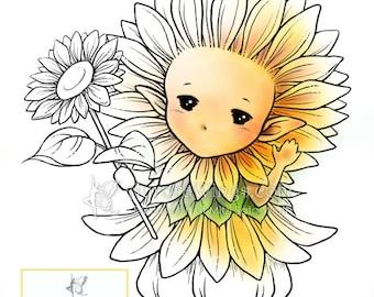 Digital Stamp - Sunflower Sprite - Whimsical Sunflower Fae - digistamp - Fantasy Line Art for Cards & Crafts by Mitzi Sato-Wiuff