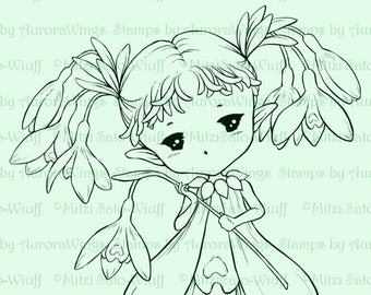 Snowdrops Sprite - Aurora Wings Digital Stamp - Cute Fairy of Snowdrop Flowers - Fantasy Line Art for Arts and Crafts by Mitzi Sato-Wiuff