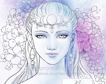 Digital Stamp - Moon Goddess - digistamp - Elegant Divine Feminine with Flowers - Fantasy Line Art for Cards & Crafts by Mitzi Sato-Wiuff