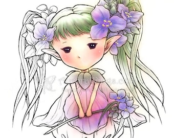 Digital Stamp - Spiderwort Sprite - Tradescantia - Whimsical Flower Fairy - Fantasy Line Art for Cards & Crafts by Mitzi Sato-Wiuff