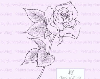Digital Stamp - Single Stem Rose - digistamp - Instant Download - Beautiful Floral Line Art for Cards & Crafts by Mitzi Sato-Wiuff