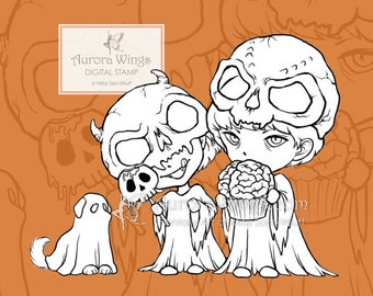 PNG Digi Stamp - Trick or Treat Boys -Spooky Halloween Zombie Horror Line Art for Cards & Crafts by Mitzi Sato-Wiuff