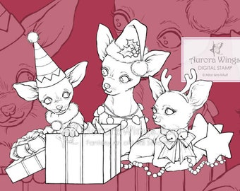 PNG Digital Stamp - Christmas Chihuahuas - Instant Download - digistamp - Holiday Animal Line Art for Cards & Crafts by Mitzi Sato-Wiuff