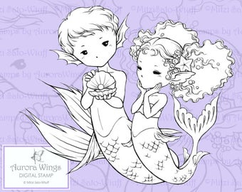 PNG Digital Stamp - Instant Download - The Gift - Adorable Young Mermaid Couple - Fantasy Line Art for Cards & Crafts by Mitzi Sato-Wiuff