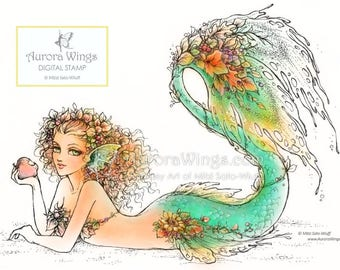 Digital Stamp - Instant Download - Autumn Mermaid - Mermaid with Fall Leaves - Fantasy Line Art Digi for Arts and Crafts - AuroraWings