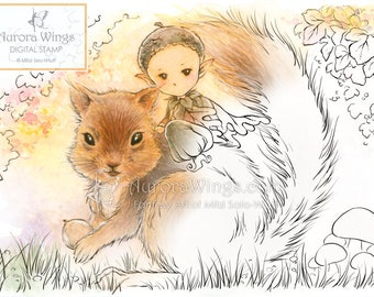 Digital Stamp - Acorn Sprite Riding on a Squirrel - Instant Download - digistamp - Fantasy Line Art for Cards & Crafts by Mitzi Sato-Wiuff