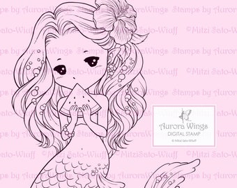 Summer Sprite with Watermelon - Aurora Wings Digital Stamp - Cute Little Mermaid - Fantasy Line Art for Arts and Crafts by Mitzi Sato-Wiuff