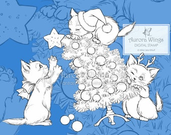 PNG Digital Stamp - Christmas Kittens - Instant Download - digistamp - Holiday Animal Line Art for Cards & Crafts by Mitzi Sato-Wiuff