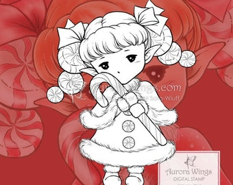 PNG Candy Cane Sprite - Aurora Wings Digital Stamp - Christmas Holiday Fairy Image - Line Art for Arts and Crafts by Mitzi Sato-Wiuff