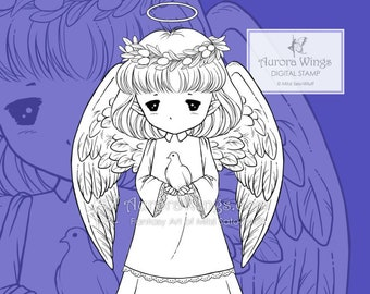 PNG Peace Angel Sprite - Whimsical Holiday Christmas Angel - Digital Stamp - Coloring Page - Fantasy Art of Mitzi Sato-Wiuff - Aurora Wings