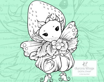 PNG Digital Stamp - Whimsical Strawberry Sprite - Instant Download - Fantasy Line Art for Cards & Crafts by Mitzi Sato-Wiuff
