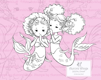 PNG Digital Stamp - Instant Download - The Secret - Best Friends Mermaids - Fantasy Line Art for Cards & Crafts by Mitzi Sato-Wiuff