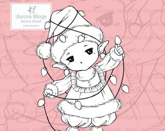 PNG Digital Stamp - Christmas Lights Sprite - Whimsical Holiday Image - Fantasy Line Art for Cards & Crafts by Mitzi Sato-Wiuff