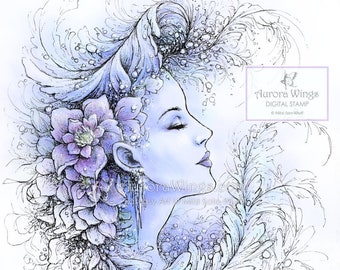Digital Stamp - Instant Download - Icicles and Crystals - Frost Flower Fairy - Fantasy Line Art Digi for Arts and Crafts - AuroraWings