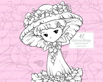 PNG Digital Stamp - Mushroom Flower Sprite - Whimsical Mushroom Fae - digistamp - Fantasy Line Art for Cards & Crafts by Mitzi Sato-Wiuff