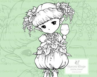 PNG Digi - Wine Sprite - Aurora Wings Digital Stamp - Grape Fairy Holding a Glass - Fantasy Line Art for Arts and Crafts by Mitzi Sato-Wiuff
