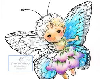 Digital Stamp - Butterfly Sprite with Fancy Wings - Whimsical Insect Fairy - Fantasy Line Art for Cards & Crafts by Mitzi Sato-Wiuff