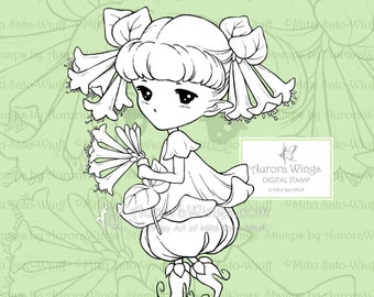 PNG Trumpet Honeysuckle Sprite - Aurora Wings Digital Stamp - Cute Flower Fairy - Fantasy Line Art for Arts and Crafts by Mitzi Sato-Wiuff
