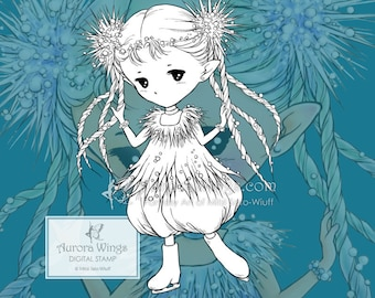 PNG Digital Stamp - Icicle Sprite - Winter Holiday Elf Ice Skater - Christmas Coloring Page - Fantasy Art of Mitzi Sato-Wiuff - Aurora Wings
