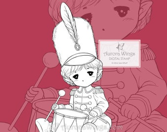 PNG Digital Stamp - Little Drummer Sprite - Holiday Baby Elf - Christmas Coloring Page - Fantasy Art of Mitzi Sato-Wiuff - Aurora Wings