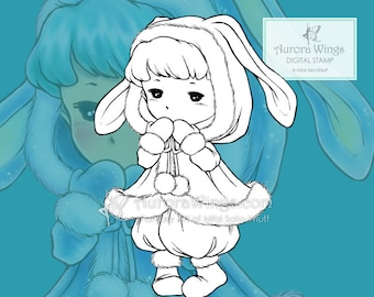 PNG Digital Stamp - Winter Sprite - Toddler in a Bunny Coat - Fantasy Line Art for Cards & Crafts by Mitzi Sato-Wiuff at Aurora Wings