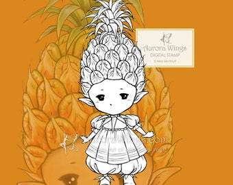PNG Digital Stamp - Pineapple Sprite - Whimsical Little Tropical Fruit Fairy Fantasy Line Art for Cards & Crafts by Mitzi Sato-Wiuff