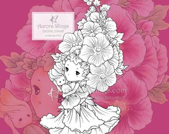 PNG Hollyhock Sprite - Aurora Wings Digital Stamp - Adorable Flower Fairy - Fantasy Line Art for Arts and Crafts by Mitzi Sato-Wiuff