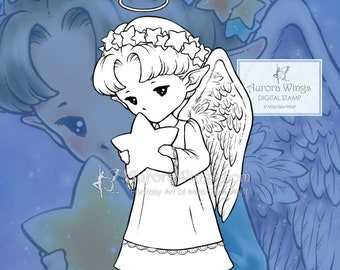 PNG Digital Stamp - Star Angel Sprite - Whimsical Holiday Image - Fantasy Line Art for Cards & Crafts by Mitzi Sato-Wiuff