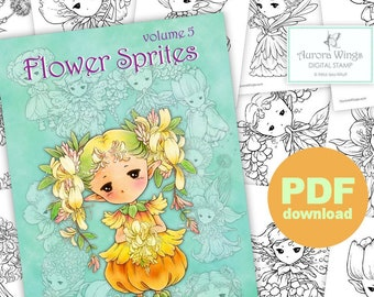 PDF Flower Sprites Coloring Book Vol. 5 - 12 Adorable Garden Fairy Elf Images to Color for All Ages - Aurora Wings - Art by Mitzi Sato-Wiuff