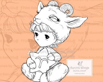 1a31cba062dee PNG Aries Sprite - Cute Zodiac Astrology Baby Elf - Line Art Digital Stamp  - Coloring Page - Fantasy Art of Mitzi Sato-Wiuff - Aurora Wings