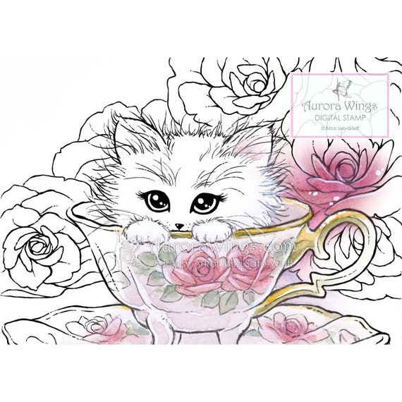 Kitten in a Teacup - Digital Stamp - Coloring Page - Kitty Cat and Roses - Animal Whimsy Fantasy Art of Mitzi Sato-Wiuff - Aurora Wings