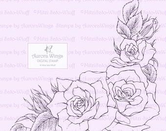 Digital Stamp - Rose Corner - Instant Download - Roses in Corner Frame Arrangement - Floral Line Art for Cards & Crafts by Mitzi Sato-Wiuff