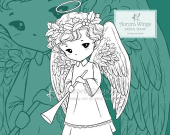 PNG Trumpet Angel Sprite - Whimsical Holiday Christmas Elf - Digital Stamp - Coloring Page - Fantasy Art of Mitzi Sato-Wiuff - Aurora Wings