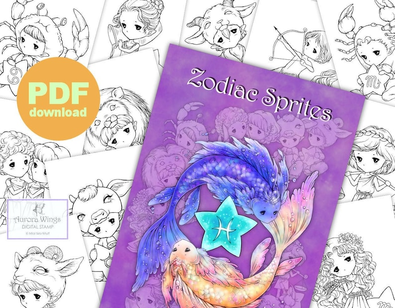 PDF Zodiac Sprites Coloring Book - 12 Astrology Sign Elf Fairy Images to  Color for All Ages - Aurora Wings - Art by Mitzi Sato-Wiuff