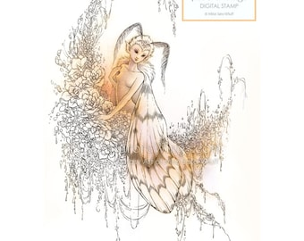 Digital Stamp - Reverie - Moth Fairy Emerging from Her Chrysalis - digistamp - Fantasy Line Art for Cards & Crafts by Mitzi Sato-Wiuff