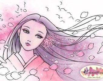 Digital Stamp - Sakura Fubuki (Cherry Petal Storm) - Japanese Girl in Kimono Fantasy Line Art for Cards & Crafts by Mitzi Sato-Wiuff