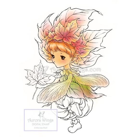 d3e14b331e22f Digital Stamp Aurora Wings Maple Sprite Autumn Fairy in