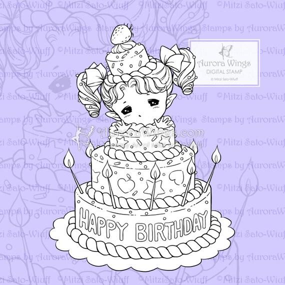 Kleurplaten Verjaardag Vake.Verjaardag Cake Sprite Png Digitale Stamp Kleurplaat Pagina Leuke Verjaardag Beeld Voor Kaarten En Ambachten Door Mitzi Sato Wiuff Aurora