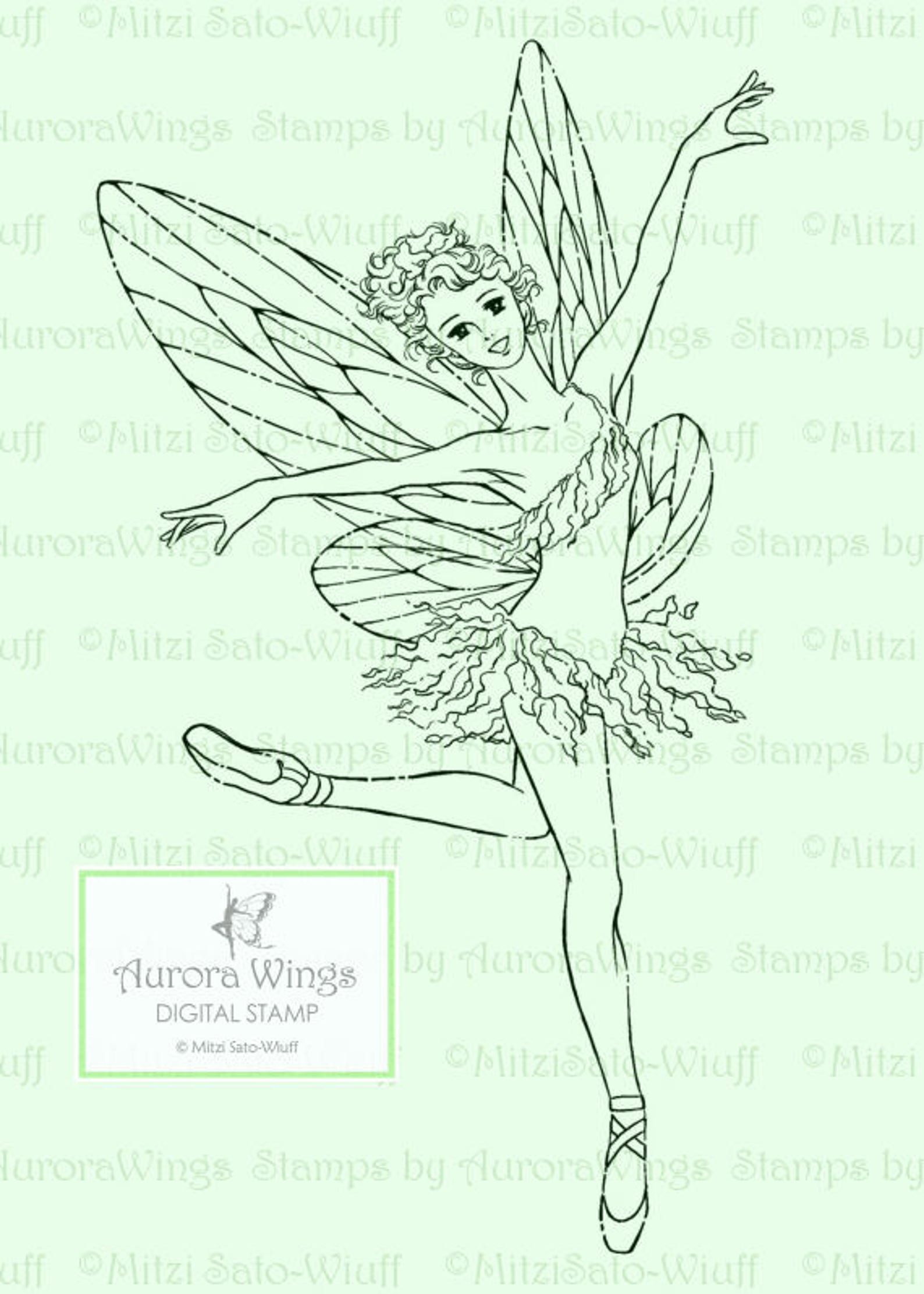 digital stamp - fairy dancer- digistamp - ballet fairy in pointe shoes - fantasy line art for cards & crafts by mitzi sato-wiuff
