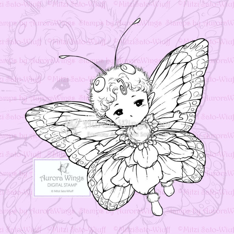 PNG Digital Stamp  Butterfly Sprite with Fancy Wings  image 0