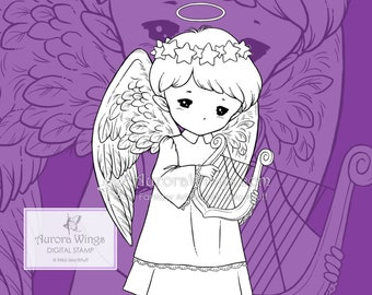 PNG Harp Angel Sprite - Whimsical Holiday Christmas Angel - Digital Stamp - Coloring Page - Fantasy Art of Mitzi Sato-Wiuff - Aurora Wings