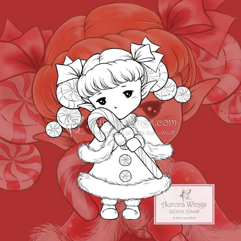 PNG Candy Cane Sprite  Aurora Wings Digital Stamp  Christmas image 0