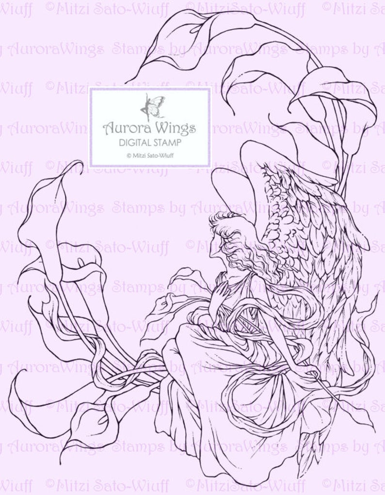 Fantasy Line Art for Cards /& Crafts Digital Stamp Instant Download Sympathy Angel with Calla Lilies digistamp Angel of Sympathy